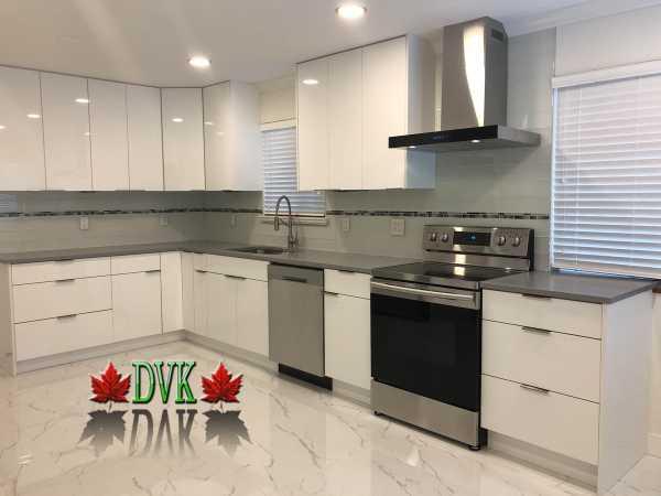 Kitchen Cabinets Vancouver 03 Dvk Glossy White Flat